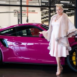 Luxurious Pink Faux Fur Double Layer Cape Coat